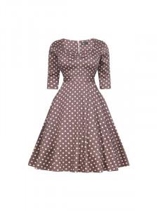 Béžové retro šaty s puntíky Lady V London Maria  Blanka Straka